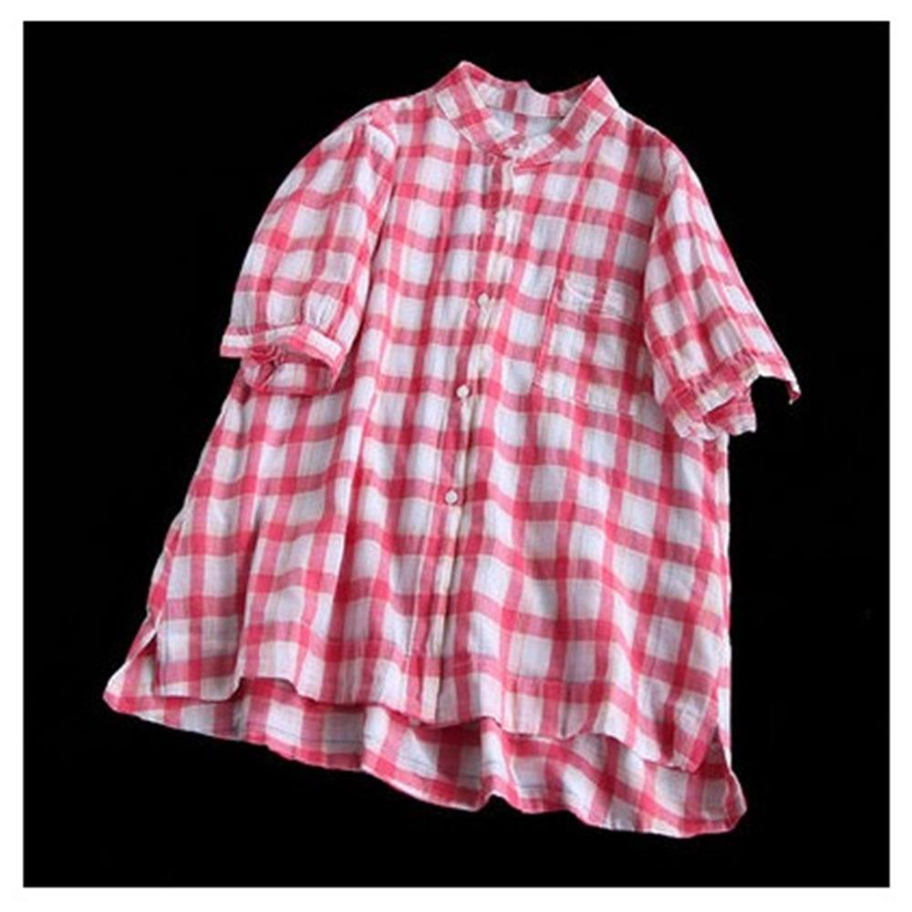 幻色彩格立領純棉襯衫開衫上衣-設計所在