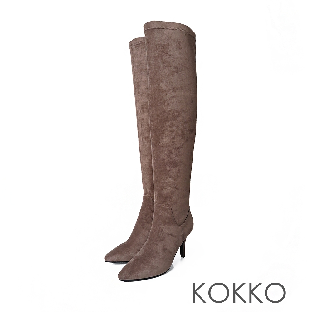 KOKKO極瘦尖頭霧面高跟過膝長靴駝