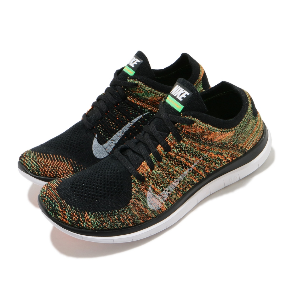 Nike 慢跑鞋 Free 4 Flyknit 男鞋 輕量 透氣 舒適 赤足 運動 訓練 黑 橘 631053006