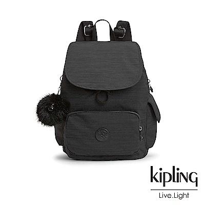 Kipling 沉靜黑素面拉鍊掀蓋後背包-CITY PACK S-ESSENTIAL系列