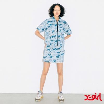 X-girl WORK MINI SKIRT迷你短裙-藍