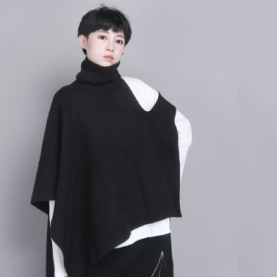 設計所在Style-高領毛線披肩時尚休閒不規則中長版斗篷外搭