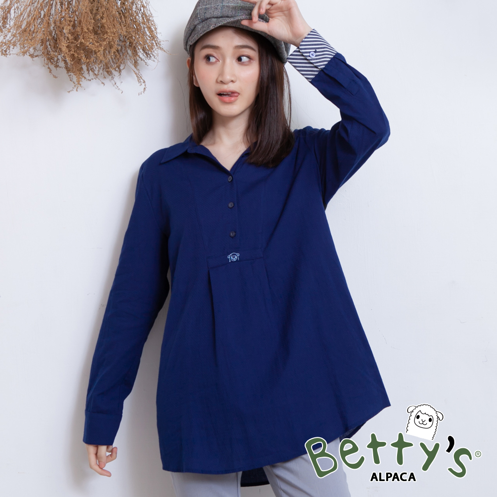 betty's貝蒂思 開襟背後拼接長袖襯衫(深藍)