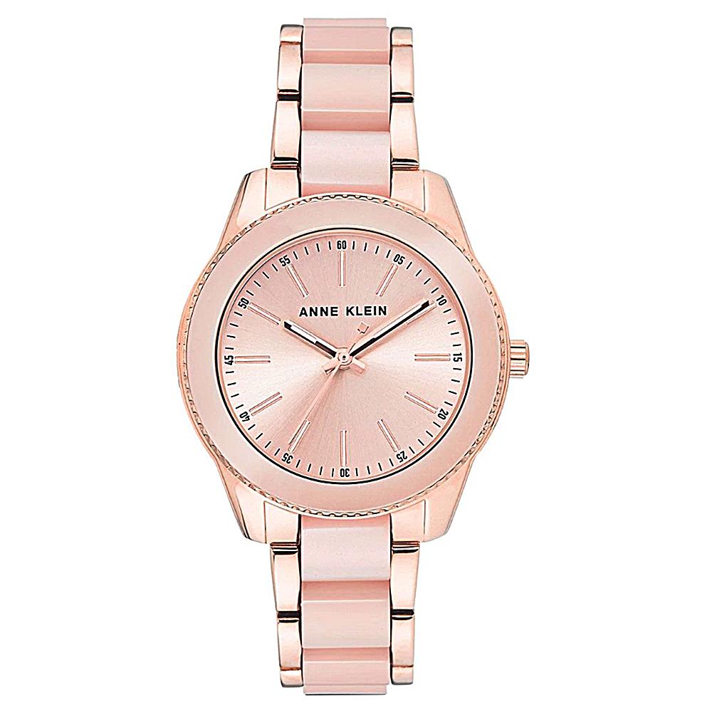 Anne Klein 淡雅粉嫩氣質陶瓷錶帶腕錶-香檳金x37mm AK-3214LPRG