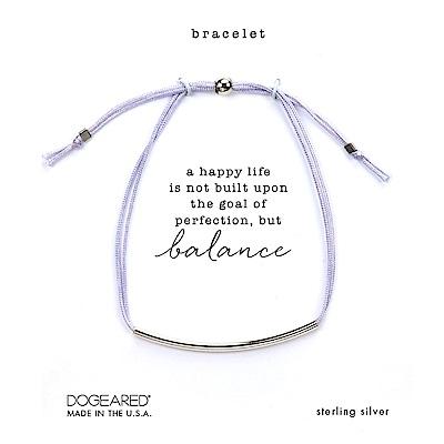 Dogeared BALANCE 平衡骨手鍊 銀色亮面墜 粉紫色防水繩手鍊 可調式