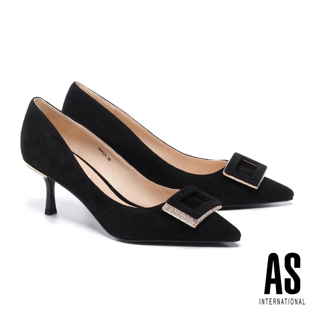 高跟鞋 AS 高貴優雅方型鑽釦羊麂皮尖頭高跟鞋-黑