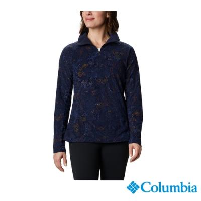 Columbia 哥倫比亞  女款-印花半開襟刷毛長袖上衣-藍印花 UAK11300
