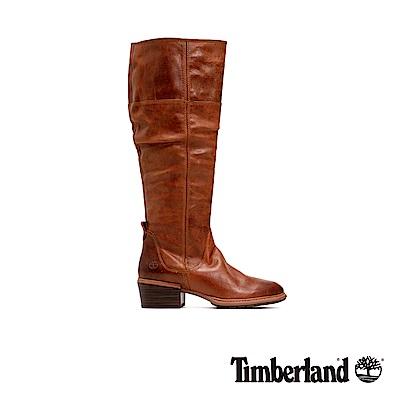 Timberland 女款中咖啡色全粒面皮革過膝靴|A1T8F