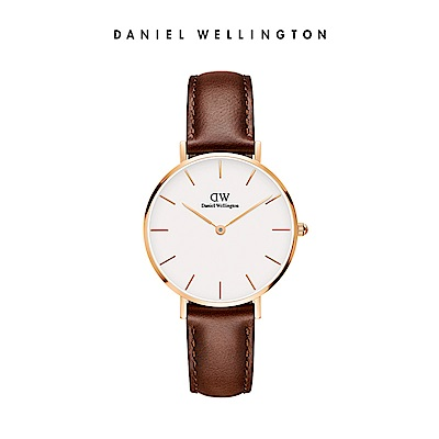 DW 手錶 官方旗艦店 32mm玫瑰金框 Classic Petite 紅棕真皮皮革