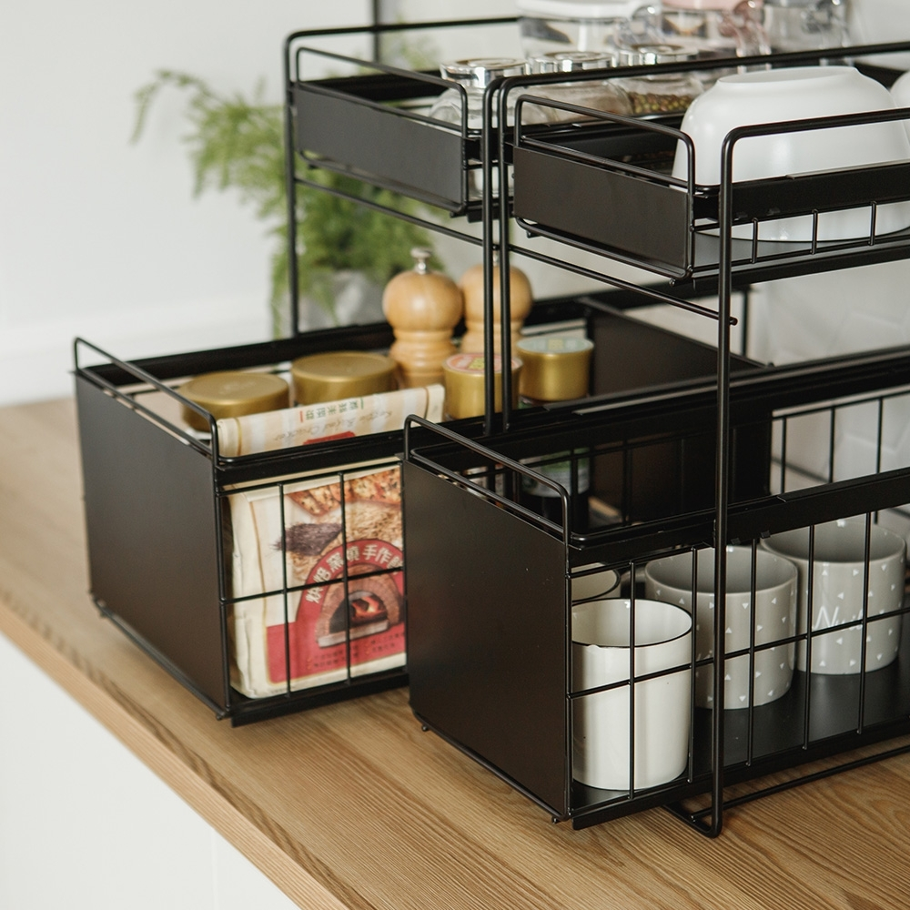 完美主義 二用廚衛雙抽收納架/瓶罐架/置物架/碗盤架 -小款(2色)