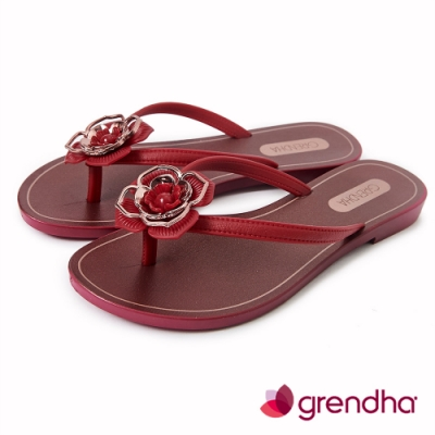 Grendha 拜占庭玫瑰夾腳鞋-酒紅