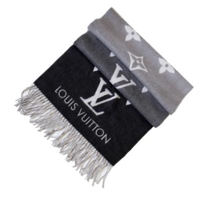 LV 漸層老花雙面圍巾 (拼色 深灰 x 灰) M76336 REYKJAVIK GRADIENT