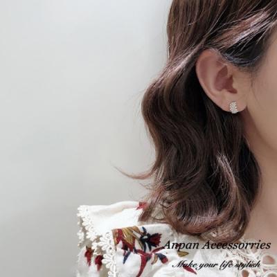 【ANPAN愛扮】韓東大門氣質優雅珍珠糖心水鑽925銀耳針式耳環