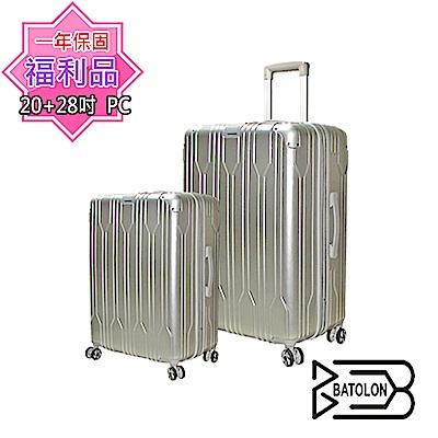 (福利品 20+28吋) 璀璨之星(太空銀)TSA鎖行李箱/硬殼箱