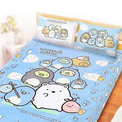 享夢城堡 雙人加大床包枕套6x6.2三件組-角落小夥伴 冰原歷險-藍