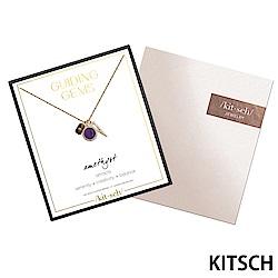 KITSCH 美國加州時尚品牌 水晶14K鍍金半寶石鎖片項鍊
