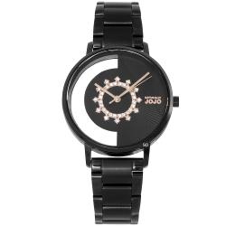 NATURALLY JOJO 閃耀晶鑽鏤空時尚手錶-黑X玫瑰金/34mm