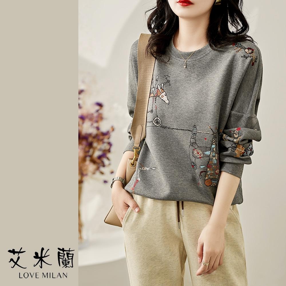 艾米蘭-韓版圓領童趣印花造型上衣-3色(M-XL)