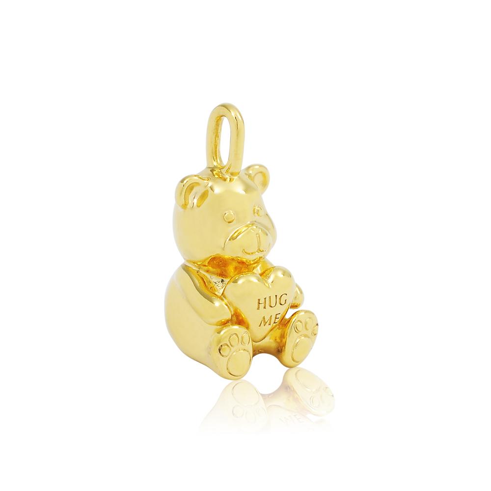 Pandora 潘朵拉 金色抱抱熊 項鍊墜飾