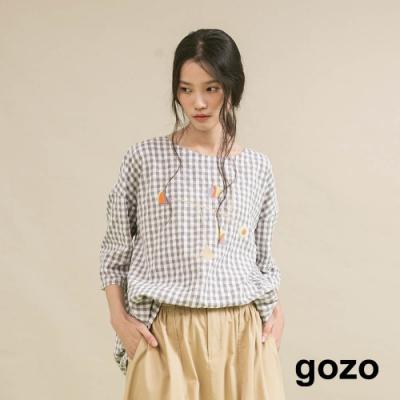 gozo 幾何後開釦繭型格紋上衣(二色)