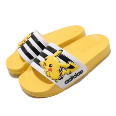 adidas 涼拖鞋 Adilette Slides 套腳 女鞋 愛迪達 皮卡丘 夏日 中大童 黃 白 FW7430