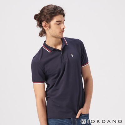 GIORDANO 男裝企鵝刺繡彈力萊卡POLO衫-66 標誌海軍藍