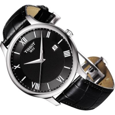 TISSOT 天梭 Tradition 羅馬經典大三針石英手錶-黑/42mm