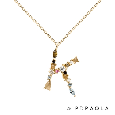 PD PAOLA 西班牙輕奢時尚品牌 字母K 彩鑽寶石項鍊