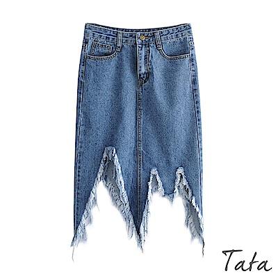 潮流不規則剪裁牛仔裙 TATA