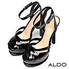 ALDO 原色編織防水台繫踝露趾高跟涼鞋~尊爵黑色