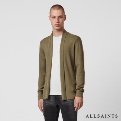 ALLSAINTS MODE MERINO 純羊毛公羊頭骨刺繡針織外套-淺灰綠