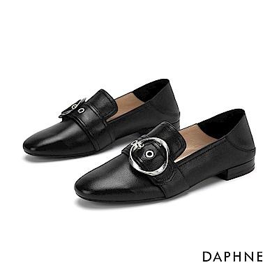 達芙妮DAPHNE 樂福鞋-真皮幾合皮扣樂福鞋-黑