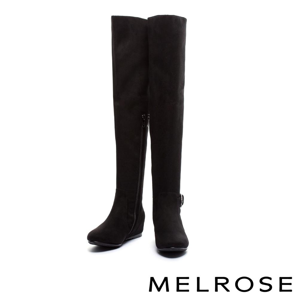 長靴 MELROSE 簡約時尚晶鑽條帶麂布過膝內增高長靴-黑