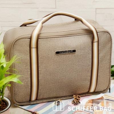 【NaSaDen】鎏金版 雪佛包-肩背/手提/穿套行李箱-/收納袋/行李袋-相當一個16吋的行李箱-咖啡棕