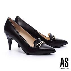 高跟鞋 AS 都市典雅馬銜釦羊皮尖頭樂福高跟鞋-黑