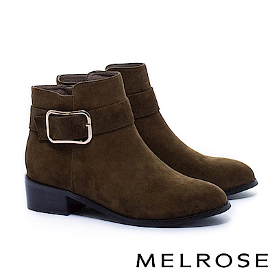短靴 MELROSE 簡約率性金屬方釦帶麂皮粗低跟短靴-綠