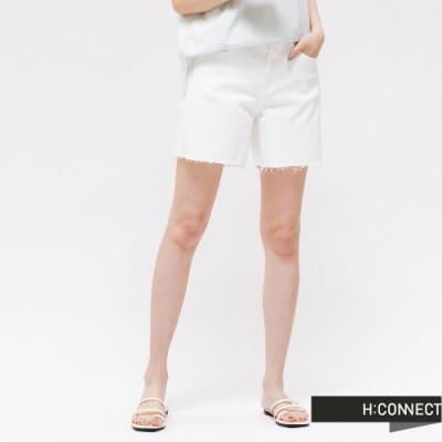 H:CONNECT 韓國品牌 女裝 -不收邊牛仔短褲 - 白