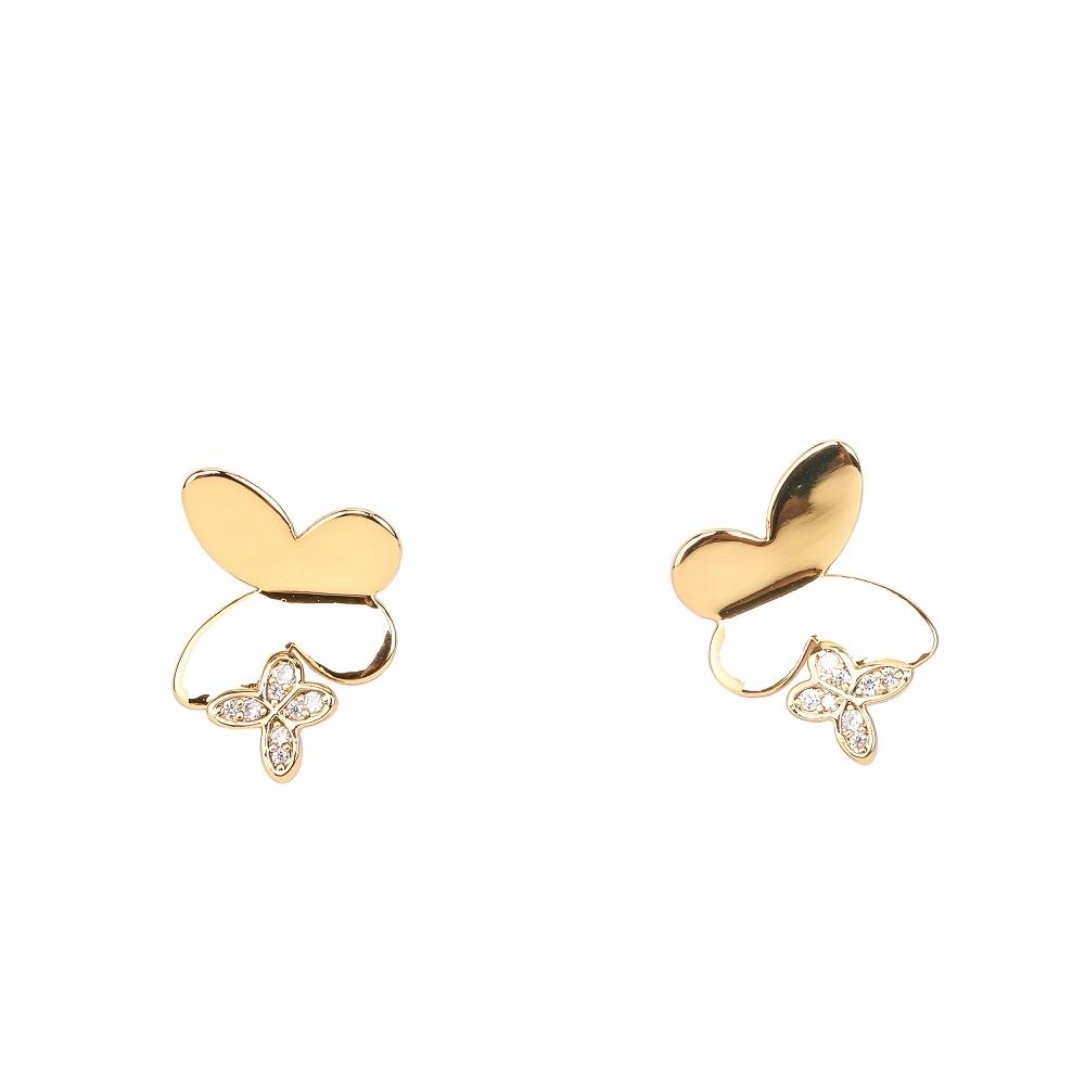 Kate Spade Flex Cuff 金色蝴蝶鑲鑽穿針式耳環