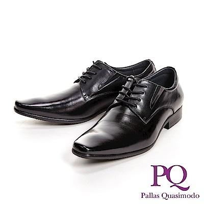 PQ 極簡方頭寬楦商務男皮鞋 鞋緣厚款-黑