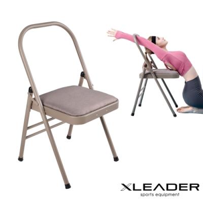 Leader X 專業輔助伸展 升級加強版棉麻雙梁瑜珈折疊椅 淺棕色-急