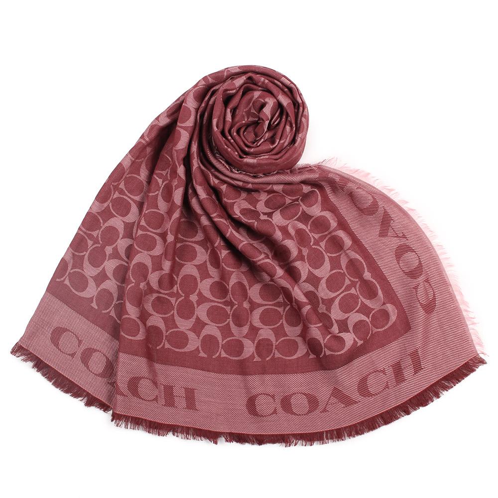 COACH 經典滿版C LOGO莫代爾棉質方形大披肩圍巾-紅色