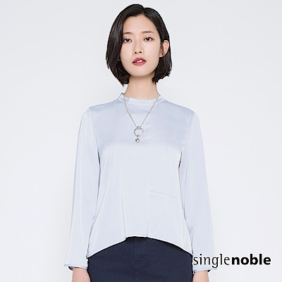 獨身貴族 女紳獨白緞面小立領拼接上衣(2色)
