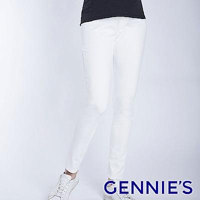 Gennies專櫃-彈力窄管顯瘦修身褲-白(T4F09)