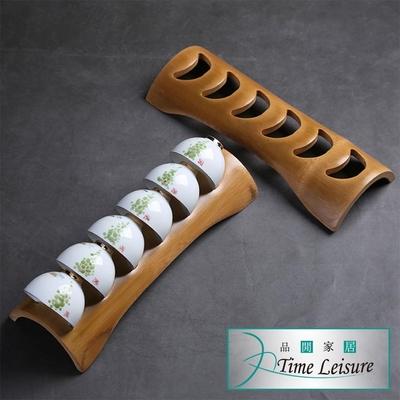 Time Leisure 天然竹製品茗瀝水杯架/功夫茶具配件-福滿杯架