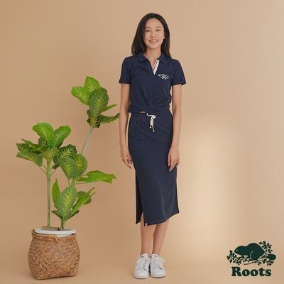 Roots 女裝- 湖畔小木屋系列 修身中長裙-藍色