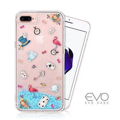 EVO CASE iPhone 6 6s 7 8 Plus藍色閃粉亮片流沙手機殼愛麗絲