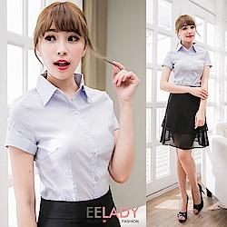 EELADY-OL亮扣摺袖條紋襯衫(藍色)