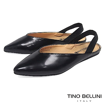 Tino Bellini 深V尖楦彈力後拉帶平底鞋 _ 黑