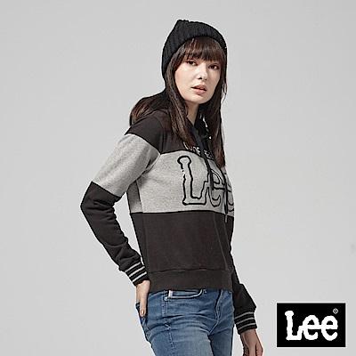 Lee 黑白色塊拼接長袖連帽TEE恤/RG