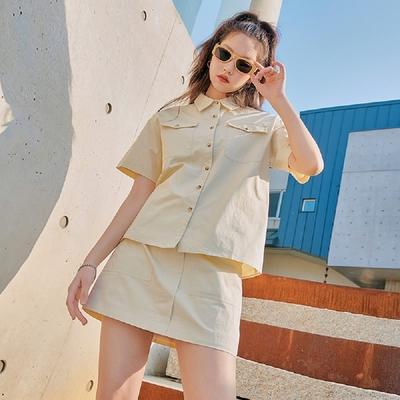 套裝 翻領口袋襯衫短裙套裝OM82446-創翊韓都